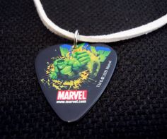Punching Hulk Guitar Pick and White Suede Cord Necklace by ItsYourPickToo on Etsy