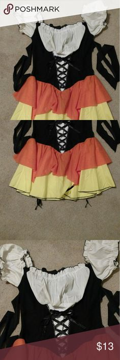 *OBO* Candy Corn Witch JUNIOR SIZE Costume Sexy Black orange yellow and white in excellent, like new condition as only been worn 6 +/- hours. Black tie around hips with garter belt attached for stockings. I have some over the knee socks identical to what I'm wearing in pic I'll include for no charge or as my gift to you!! BRAND: LEG AVENUE  Please make me an offer and or bundle as my closet is ALWAYS negotiable!!!!!! Other