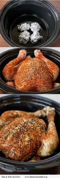 Slow Cooker Chicken - Easy and delicious! One of my favorite ways to make a whole chicken is in my slow cooker. Slow Cooker Chicken is so easy to throw together, and at dinner time you have a lovely whole chicken to eat or shred and use in another recipe Crockpot Dishes, Crock Pot Slow Cooker, Crock Pot Cooking, Cooking Recipes, Crockpot Meals, Cooking Tips, Crock Pots, Healthy Recipes, Slow Cooker Dinners