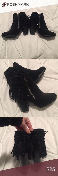 Black Fringe Booties Size 7 Super cute and fun fringe booties! Black suede, not too much wear in them. Silver zipper on outside. Great for fall and winter! Breckelles Shoes Ankle Boots & Booties
