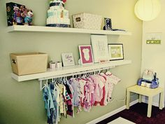open closet for baby clothes? This might just be the PERFECT solution for the nursery nook. Nursery Nook, Nursery Ideas, Spearmint Baby, Bright Nursery, Closet Rod, Entryway Closet, Hanging Clothes, Nursery Inspiration, Baby Time