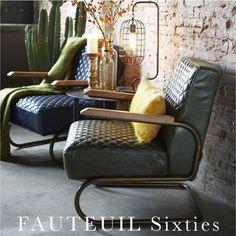 Landelijke groene leren Sixties Fauteuil met armleuning