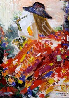 Artist: Kratimenou Katerina Title: girl with saxophone mixedmedia Joomla Templates, Fingerprints, Saxophone, Gallery, Artist, Painting, Saxophones, Painting Art, Paintings