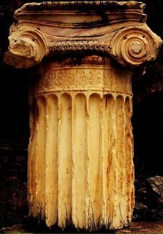 Archaeological Site of Delphi -- Ionic Rhythm Column Fragment -- Located along the Sacred Way near the Stoa of the Athenians. Ancient Greek Architecture, Amazing Architecture, Art And Architecture, Architecture Details, Ancient Greek Art, Ancient Ruins, Ancient Greece, Mayan Ruins, Greek History