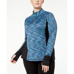 Ideology Plus Size Space-Dyed Half-Zip Top, Created for Macy's ($33) ❤ liked on Polyvore featuring plus size women's fashion, plus size clothing, plus size activewear, plus size activewear tops, teal, women's plus size activewear, plus size sportswear and ideology activewear