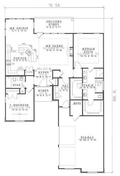 First Floor in Reverse.  Missing the SCREEN PORCH.  This is what we think with some tweaks will be the final plan.  We will add a basement and the exterior will be quite different.  This is very close though to the final plan.  Hoping to have another bedroom, bathroom and another family room in the basement.  May have a walkout basement.  We are just in the phase now of meeting with Builders and obtaining prices.  We of course want to keep the costs down.