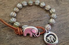 """Good Luck Knotted Elephant Leather Wrap Bracelet """"Boho Chic"""" by Two Silver Sisters"""