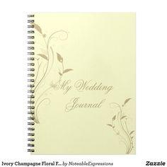 Ivory Champagne Floral Filigree Wedding Journal