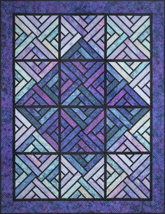 Foundation pieced kit, designed by Judy Niemeyer, includes pattern with preprinted foundation papers and Malam Batik fabrics by RJR Fabrics for the top and binding. Box Patterns, Quilt Patterns, Bright Quilts, String Quilts, Missouri Star Quilt, Foundation Paper Piecing, Queen Quilt, Painted Boxes, Quilting Tips