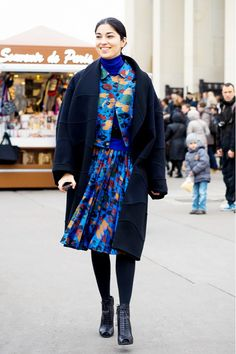 Floral matching set is transitioned to fall/winter with a dark coat, stockings and booties.