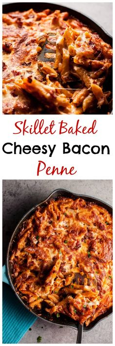 This one pan pasta dish is the ultimate comfort food for bacon, cheese, and pasta lovers! I went all out on this one. Ooey gooey deliciousness can be yours!