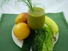 2 grapefruits, peeled, seeds removed, cut into chunks  1 mango, pit and skin removed  1 banana, peeled  1 cup of fennel fronds (leaves), chopped  2 cups of any dark leafy green vegetables with a mild taste, such as kale, spinach or lettuce  ½ cup water