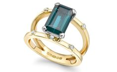 Bespoke engagement ring by Emma Franklin - Yellow Gold Engagement Ring with Large central Emerald Cut Tourmaline suspended with six small diamonds Unique Rings, Beautiful Rings, Unique Jewelry, Perfect Engagement Ring, Engagement Rings, Wedding Ring Designs, Unique Ring Designs, Gems Jewelry, Jewellery