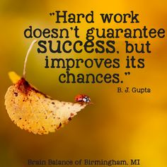 """Hard work doesn't guarantee #success, but #improves its chances."" -- B. J. Gupta #keepgoing #hardwork #quote #qotd #successquote #improvement #happiness #happylife #motivationmonday #Birmingham #MI #Michigan #addressthecause #brainbalance #afterschoolprogram"