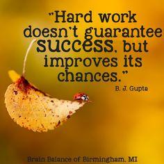 """Hard work doesn't guarantee #success, but #improves its chances."" -- B. J. Gupta #keepgoing #hardwork #quote #qotd #successquote #improvement #happiness #happylife #motivationmonday #Birmingham #MI #Michigan #addressthecause #brainbalance #afterschoolprogram"