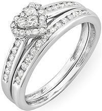 #Jewelry 0.55 Carat 10k White Gold Round & Princess Diamond Heart Shaped Bridal Ring Engagement Set