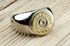 Unsere Männer Kugel Ring ist perfekt für den Mann in Ihrem Leben! Hergestellt aus Edelstahl Ring base und echte recycelt Kugel Kopf. (500 S & W