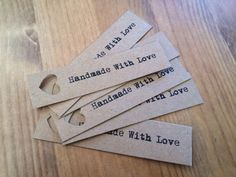 Handmade with love wedding favor tags by HandmadeWithLove001