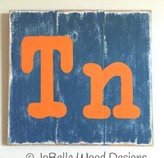 Blue and Orange Minimalist Tennessee by JoBellaWoodDesigns on Etsy