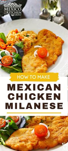Chicken Milanese Mexicana, a meal crispy and golden treat for your dinner. A popular midday meal or dinner all over Mexico. This traditional Mexican meal is ready in 30 minutes or less, serve with a side of Mexican red rice, a salad with a few slices of avocado, some warm corn tortillas, and spicy homemade salsa. International Food Day, Milanese Recipe, Mexican Chicken Recipes, Mexican Cooking, Chicken Milanese, Milanesa, Homemade Salsa, Breaded Chicken, Corn Tortillas