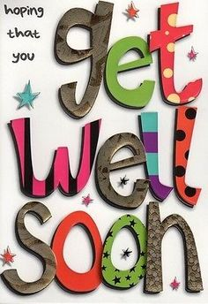 NEW GET WELL SOON CARD IN A WORD CELLO WRAPPED GREETING CARDS 5 = FREE UK P&P