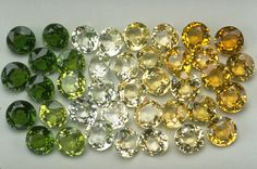 Grossular Garnets from the National Gem Collection displaying a range of colors.