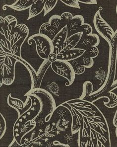 Jacobean at Night Linen Fabric Large floral design in black printed on natural linen