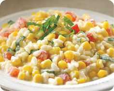 Corn Risotto with Tomatoes and Basil ~ perfect summer side with veggies straight from the garden!