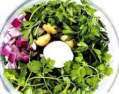 Chimichurri - a szósz, ami mindenhez passzol Chimichurri, Chips, Eggs, Cooking, Breakfast, Recipes, Food, Cilantro, Kitchen