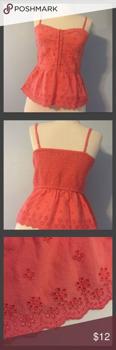 AE Coral Tank Top Coral Tank Top with flower eyelet design.  Stretch back and adjustable straps.  Size small. American Eagle Outfitters Tops Tank Tops