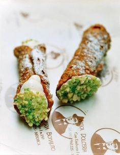 Cannoli with cow's milk ricotta and pistachio at Antica Dolceria Bonajuto, Modica, Italy