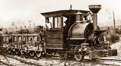 CAMERON AND BARKLEY # 1 PORTER 1195, a narrow gauge 0-4-0 Porter with a train load of phosphate ore in small dump cars, sometime in the 1890's. Porter built the three foot gauge tank engine in July of 1890, for Cameron & Barkley Co.,  a Charleston, SC machinery dealer.