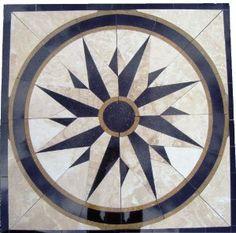 star shaped ceiling medallion   Amazon.com: Tile Floor Medallion Marble Mosaic North Star Design 34 ...