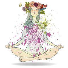 Download - Summer Girl in Lotus pose — Stock Illustration #115745888