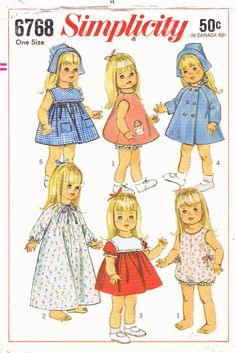 Original Vintage Doll Clothes Pattern Simplicity by BlondiesSpot, $25.99