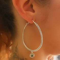Silver Earrings - Silver Hoops - Ethnic Hoops - Gypsy Hoops - Ethnic Earrings - Hoops Jewelry - Silver Jewelry - Ethnic Jewelry  Beautiful silver plated earrings decorated with green onyx. The bar (the part that enter the ear) is made of sterling silver.  Suitable for normal ear piercing. $30