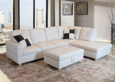 Upgrade Your Living Room With This Sleek, Modern Style Faux Leather  Sectional Sofa Set. The Storage Ottoman Makes It Easy To Organize Your  Messy Remote And ...