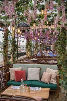 dreamy riverside al fresco terrace at coppa club in london | london summer, london travel, london cocktails, travel bucket list |