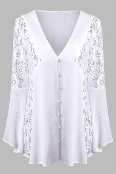 V Neck Lace Insert Flare Sleeve Crinkle Blouse - White - Xl Blouse Styles, Blouse Designs, White Lace Blouse, Lace Tunic, Fashion Sale, Mens Fashion, Lace Insert, Sammy Dress, Mode Outfits