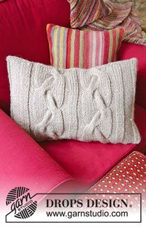 Cozy cables / DROPS - free knitting patterns by DROPS design - Cozy Cables / DROPS – Knitted pillowcase with cable pattern. The piece is worked in DROPS - Knitted Pouf, Knitted Cushions, Knitted Afghans, Knitting Patterns Free, Knit Patterns, Free Knitting, Free Pattern, Drops Design, Crochet Home
