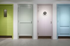 These are changing room doors but the one in green and the port hole door are also brilliant ideas for front door design.
