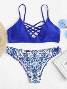 fe84e6d04af43 Criss Cross Front Top With Porcelain Print Bikini. Women's Fashion  DressesFashion SwimsuitsCute ...