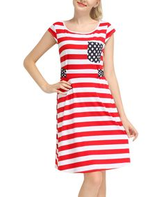 Another great find on #zulily! Red & White Stripe Cap-Sleeve Dress by Reborn Collection #zulilyfinds