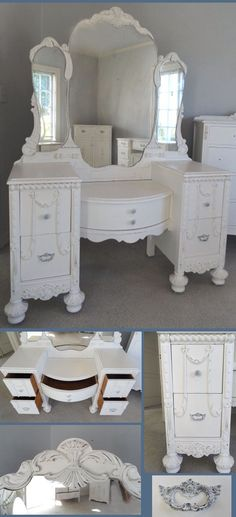 shabby chic vintage vanity # shabby chic vintage eitelkeit # home decoration # haus dekoration Shabby Chic Furniture, Vintage Furniture, Cool Furniture, Upcycled Furniture, Painted Furniture, Antique Vanity, Vintage Vanity, Vintage Makeup, Shabby Vintage