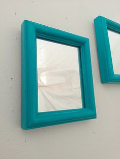Turquoise Mirror Set in Vintage Wood Frames by SecretWindow, $28.00