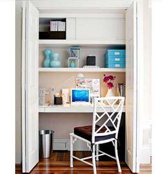 Closet Office Inspiration: top shelf sliding cabinet doors