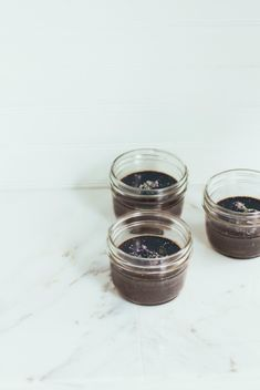 chocolate pots de crème with lavender and sea salt