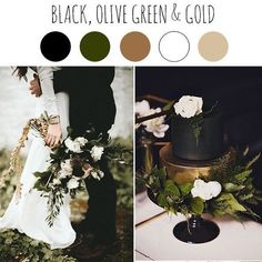 Our next Fall color palette is a very masculine and elegant combination of black, olive green and gold. The greenery, the touches of gold, all being grounded by rich black. Fall wedding planning starts HERE! Contact me today. Gold Wedding Theme, Wedding Themes, Wedding Flowers, Dream Wedding, Wedding Decorations, Black Wedding Decor, Wedding Ideas, Black And White Wedding Theme, Woodsy Wedding