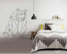 GEOMETRIC Bear Sticker from myloview #decals #wall