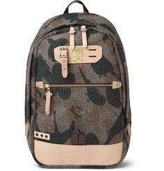 Master-Piece - Leather-Trimmed Camouflage Wool-Blend Backpack|MR PORTER